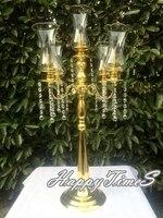 10 conjuntos de Ouro ColorLuxury Partido Peça Central Do Casamento Decoração Suporte de Vela Com Tampa de Acrílico Na Parte Superior