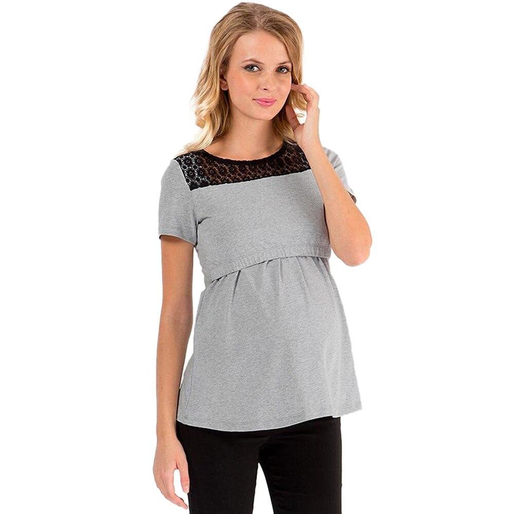 Telotuny clothes fot female 100%Cotton Women Maternity Nursing Breastfeeding Lace Short Sleeve Shirt Top Blouse JL 05
