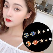 South Korea planet moon stars pearl female students fresh and lovely fashion simple asymmetric earrings