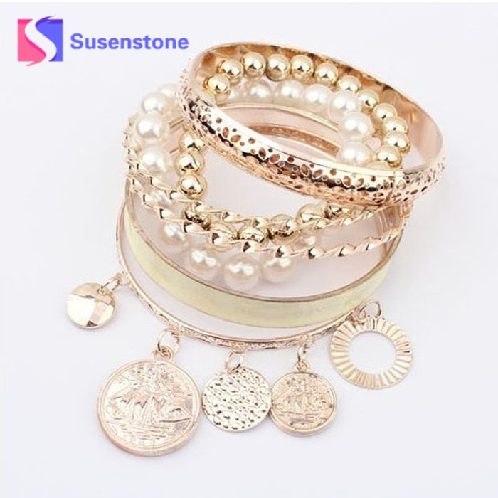 1Sets Korean New New Style Girls Exquisite Coin Pearl Hollow Bracelet Jewelry