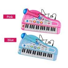 Купить с кэшбэком Birthday Gifts 37 Keys Electone Mini Electronic Keyboard Musical Toy Kids Educational Toys  with Microphone Piano Baby Toys Kid