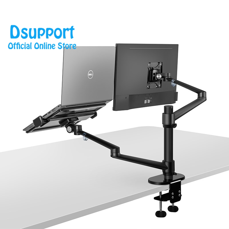 Aluminum Height Adjustable Desktop Dual Arm 17 32 inch Monitor Holder 12 17 inch Laptop Holder