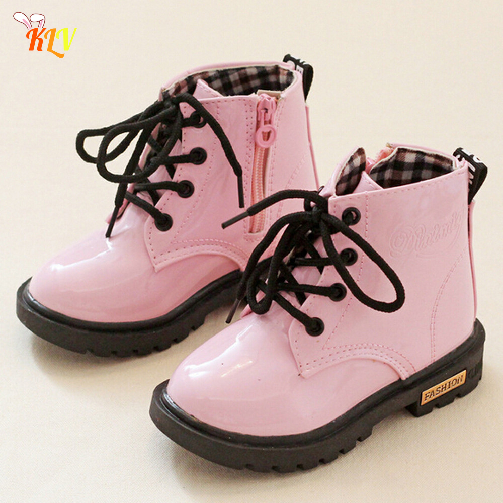 New cute autumn winter Children Fashion Boys Girls Martin Sneaker Winter Thick Plus cotton Snow boots Baby Casual leather Shoes