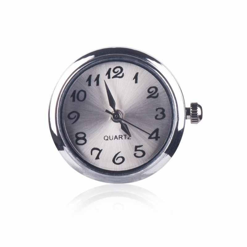 ใหม่ 18 มิลลิเมตรรอบ Silver Tone นาฬิกาควอตซ์ Face Charm Snap ปุ่มสำหรับแฟชั่น DIY Snap เครื่องประดับสร้อยข้อมือกำไลข้อมือ