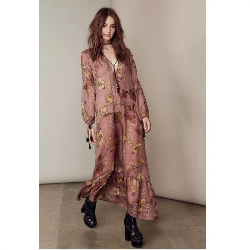 2016 summer new long sleeve dress chiffon plus size print loose vintage style women maxi dresses. Black Bedroom Furniture Sets. Home Design Ideas