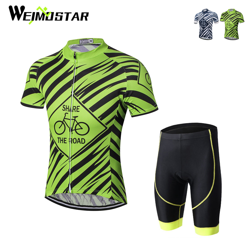 Mens Cycling Clothing Set Bike Wear Half Zippered Jersey Shirt Padded Bib Shorts