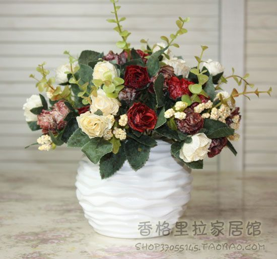 Ceramic Vase Rose Artificial Flower Decoration Set Coffee Table Dining Table  Silk Flower Flower Set