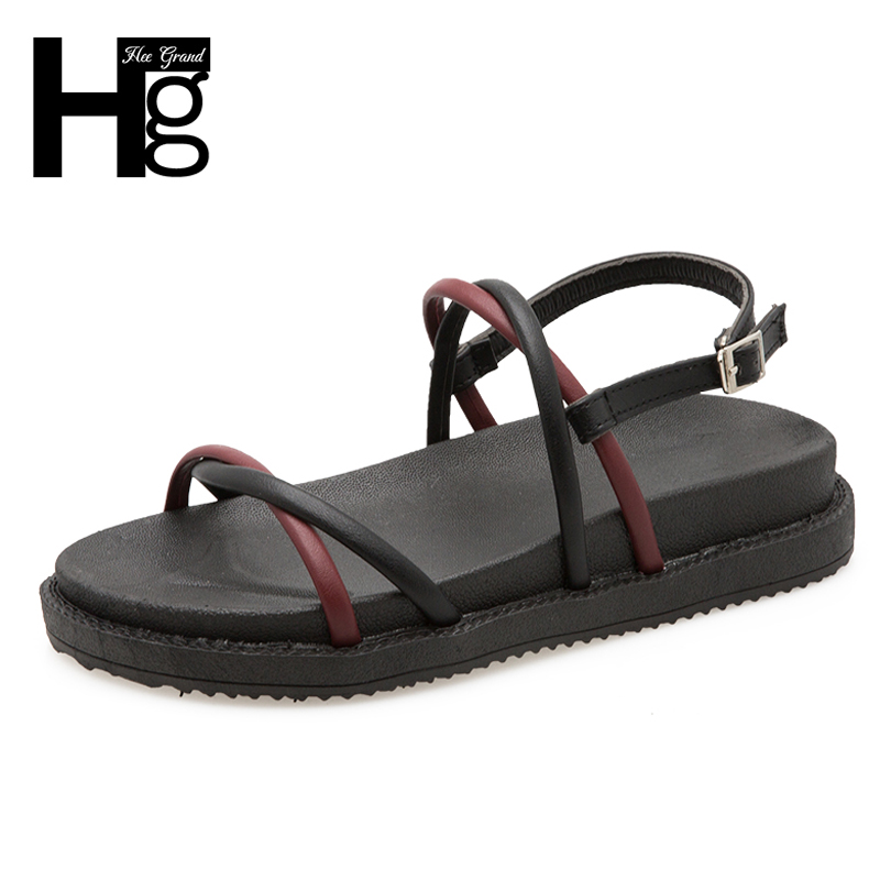 HEE GRAND 2018 Summer Women Sandals Buckle Strap on Leisure PU Leather Women Sandals Flats with Causal Shoes Woman XWZ4847