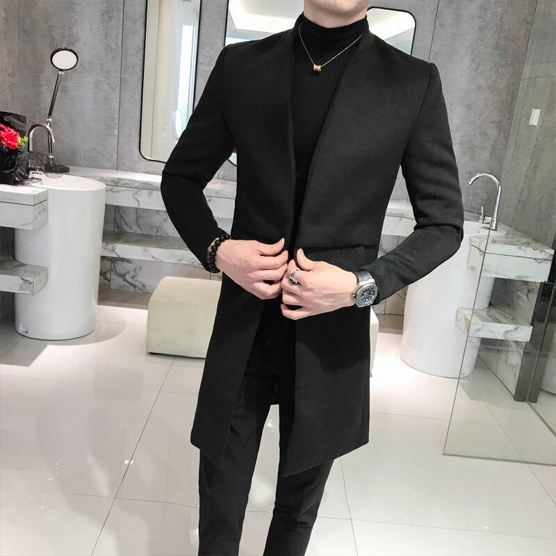 Long   Trench   Coats Mens Stand Collar Long Jackets Mens Black Abrigo Hombre Grey Gentleman Men Long Coats Slim Fit Elegance Coats