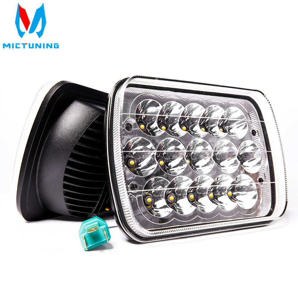 MICTUNING 2pcs 45W LED work light 7x6 Crystal Square High Low Beam H4 Projector led Headlights