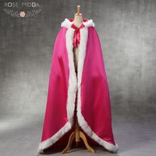 Rose Moda Hot Pink Wedding Jackets with Faux Fur Long Bridal Capes with Hat for Winter Weddings(China)