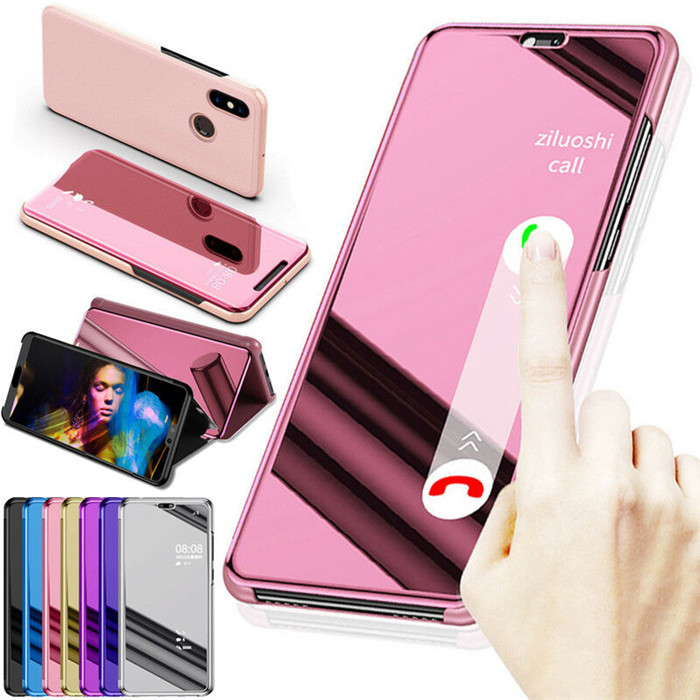 For Xiaomi Redmi Note 6 7 8 Pro 8T 6A 7A 8A View Mirror Flip Leather Case for Mi A2 A3 Lite 9 9T 10 K20 CC9 9E CC9 Pro Mi10(China)
