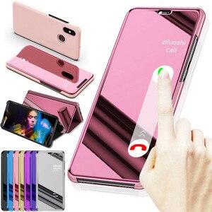 For Xiaomi Redmi Note 6 7 8 Pro 8T 6A 7A 8A View Mirror Flip Leather Case for Mi A2 A3 Lite 9 9T 10 K20 CC9 9E CC9 Pro Mi10(China)