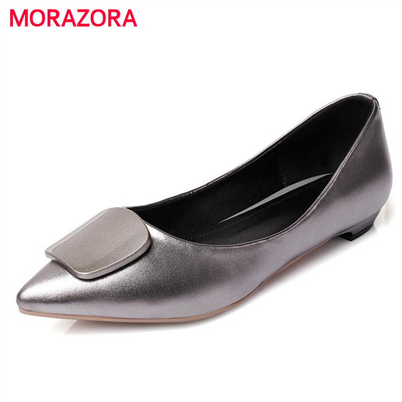 MORAZORA 2017 Fashion shoes women flats genuine leather big size 33-45 spring autumn pointed toe shallow single shoes contracted new 2017 spring summer women shoes pointed toe high quality brand fashion womens flats ladies plus size 41 sweet flock t179