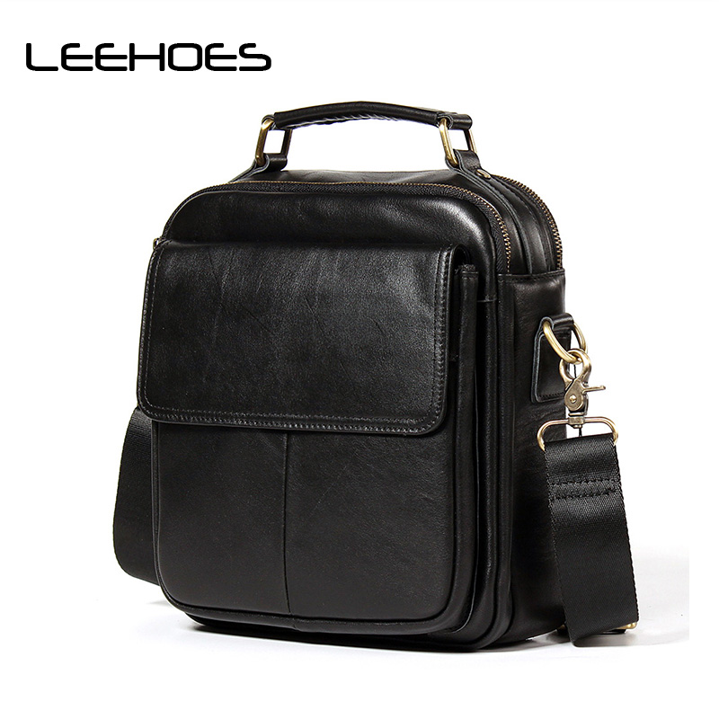 Vintage Men's Leather Briefcase Fashion Men Bags Genuine Cowhide Leather CrossBody Handbag Small Messenger Bag Men Shoulder Bags men s briefcase vintage shoulder cowhide leather bags crossbody bags real genuine leather men messenger bag