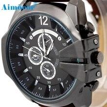 Новые дизайнерские Роскошные мужские часы аналоговые спортивные стальной чехол кварцевые наручные часы с кожаным циферблатом подарок 322