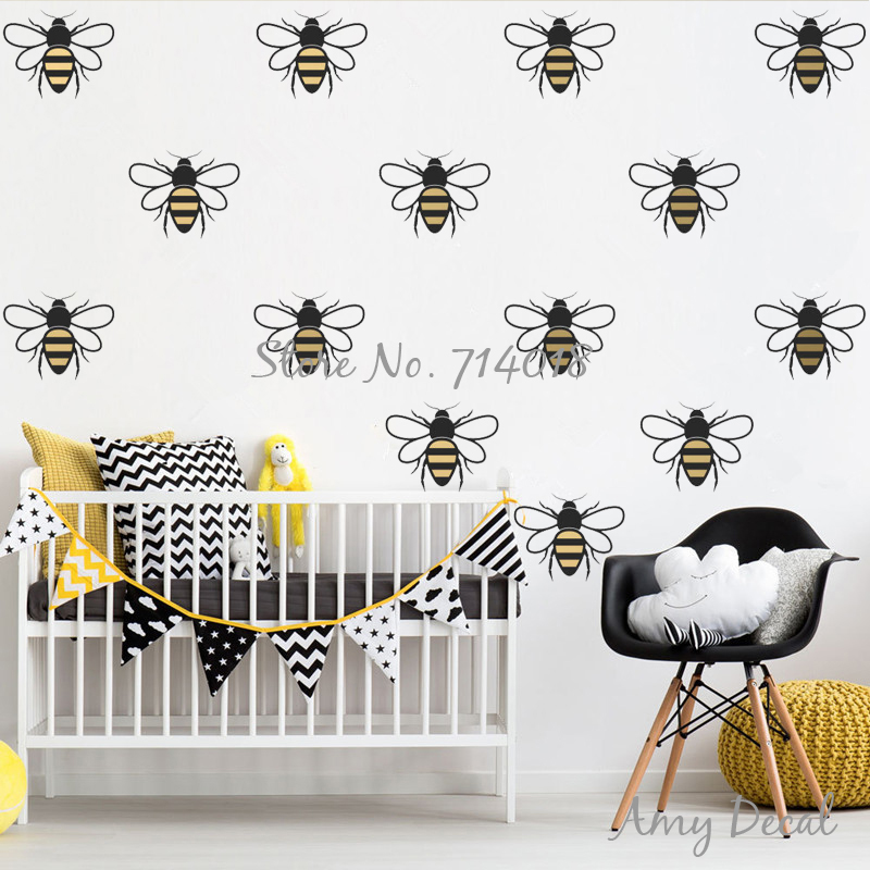 Us 7 87 26 Off Cute Bee Wall Pattern Decals 2 Color Honey Stickers Modern Nursery Home Decor Vinyl For Kids Room Murals A823 In