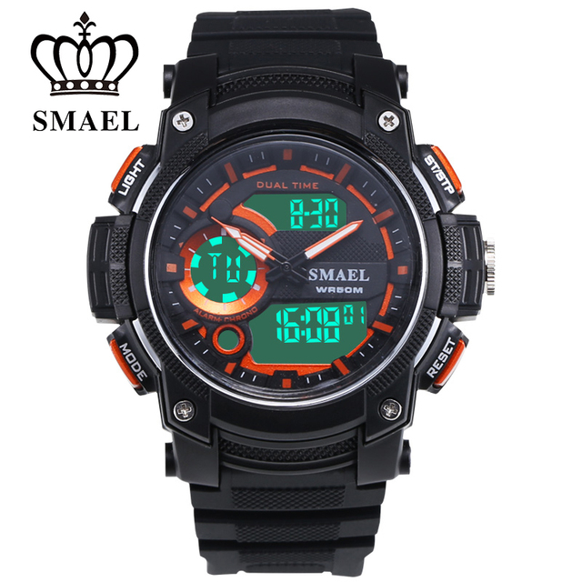 SMAEL LED Swim 50m Waterproof Leisure Electronic Watch Multifunction Stopwatch Sports Present Dual Display Multi-function 1542