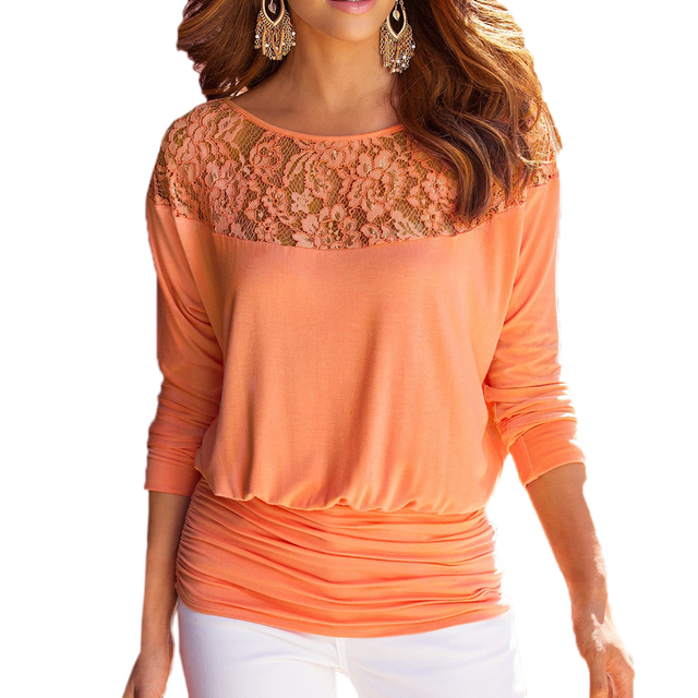 Ladies Lace Decoration Casual Three Quarter Sleeve Blouses