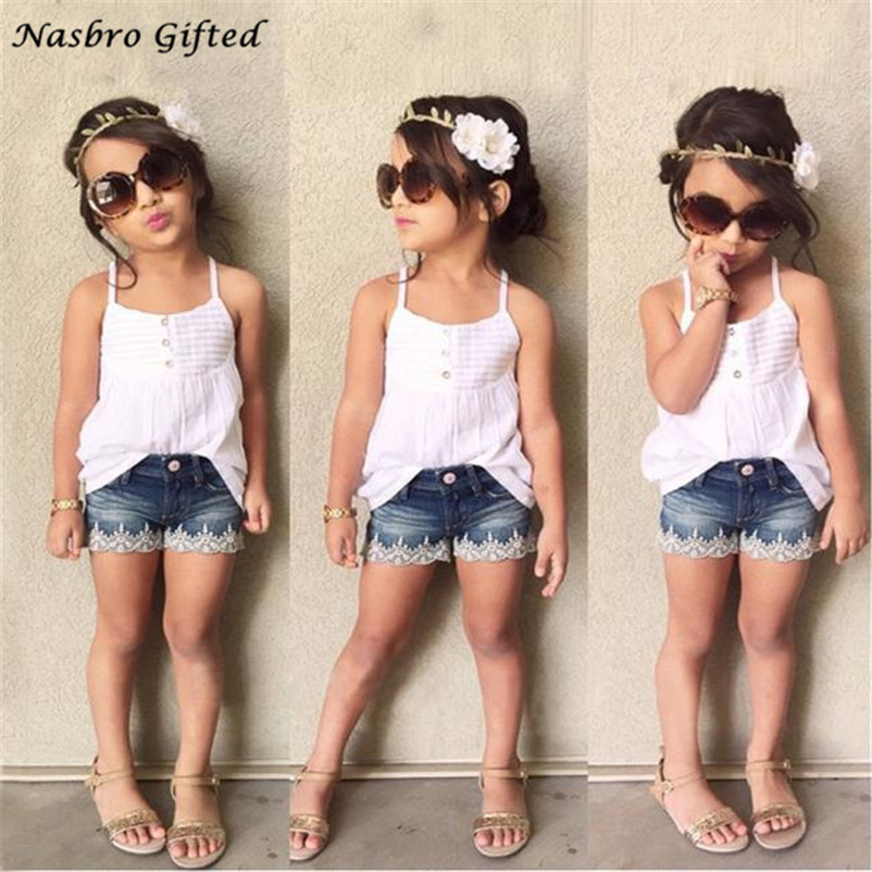 Hot Summer girls Suit Kids Baby Girls Outfits Set Tank Top T-shirt Dress+Jeans Pants Clothes Dropshipping ,XL30 finejo baby girls kids blouse jeans pants casual clothes sets suit outfits