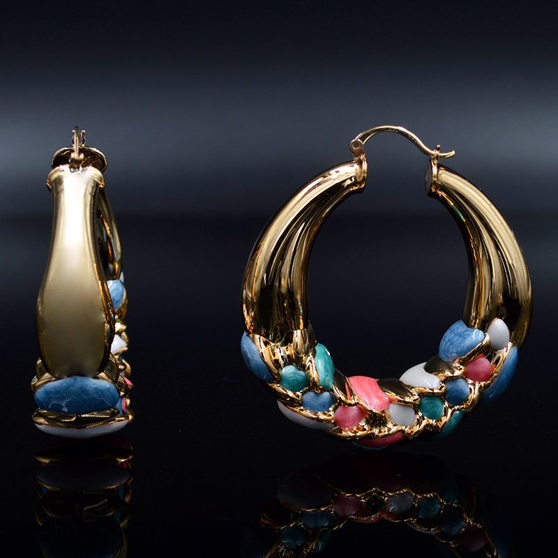 Sunny Jewelry 2017 Big Hoop Fashion Earrings For Women Gold Plated Colorful Glaze Fairy Flower For