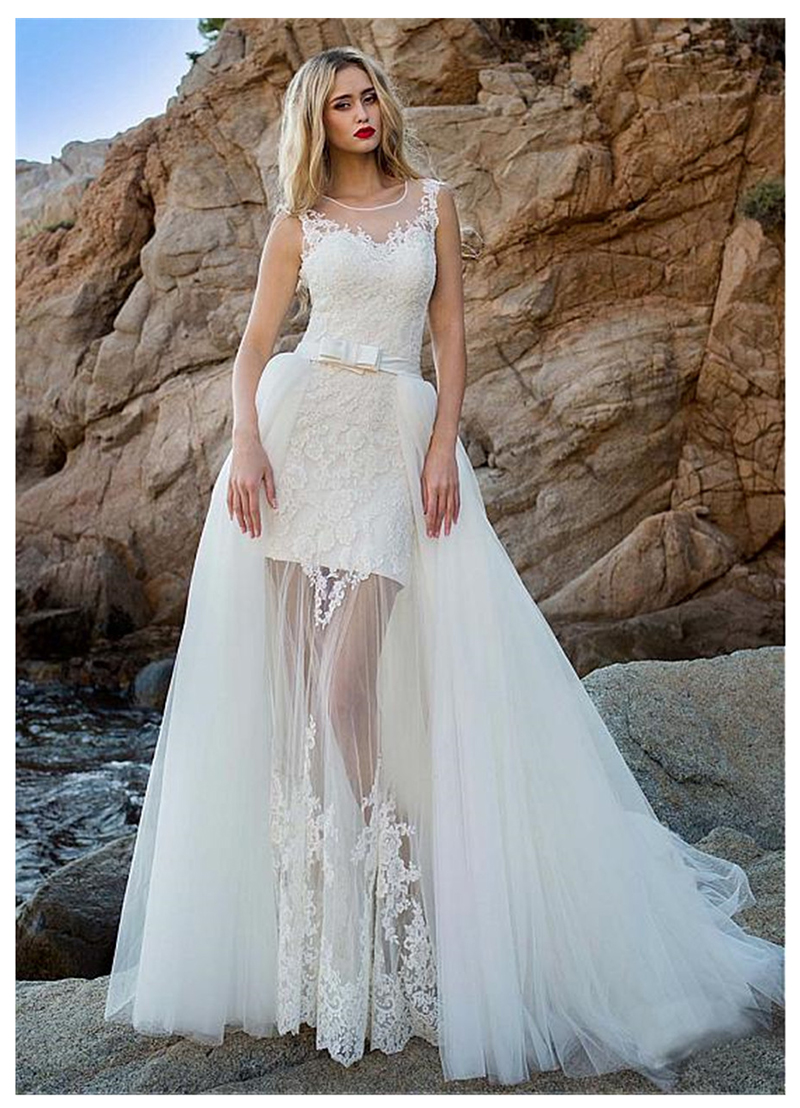 LORIE 2019 New Princess Beach Wedding Dress Lace Appliqued Bride Dress Detachable Train Wedding Gown Sleeveless Bride Dress