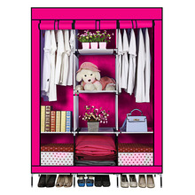Russia seller! Non-woven Medium Portable Wardrobe Closet Storage Organizer Cupboard Cloth Rack With Shelves 128cm*45cm*175