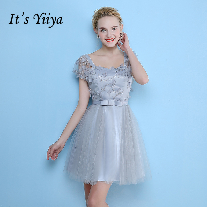 It's YiiYa Formal   Dress   Bow Beautiful   Bridesmaids     Dresses   Sexy Backless Lace Up Flower Appliques Lady Fashion Designer LX710