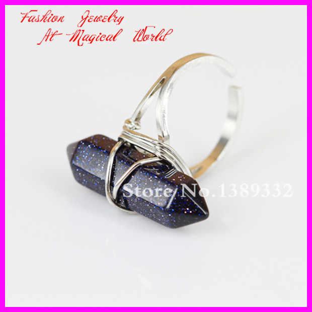 1ピースネイチャーポイント宝石リングワイヤー包まれたシルバーリング調節可能なサークル、ヘキサゴンdruzy宝石リング