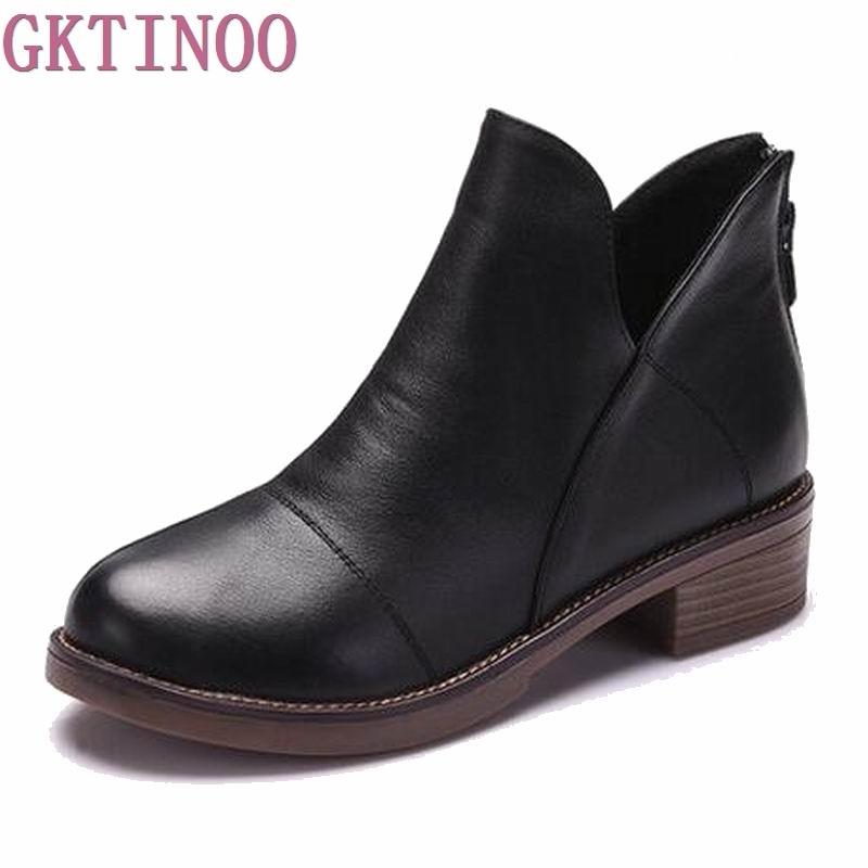 2018 femmes mode Vintage en cuir véritable chaussures femme printemps automne plate-forme bottines femme Sexy bottes pour femmes T6117