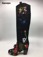 Apoepo Brand Knee High Boots Square Thick High Heels Shoes Round Toe Embroidery Flowers Black Boots