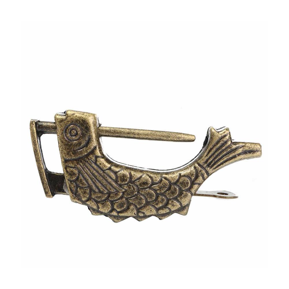 Cadenas en laiton Vintage chinois Antique Style ancien boîte à bijoux motif poisson serrure et clé pour ornements de décoration intérieure