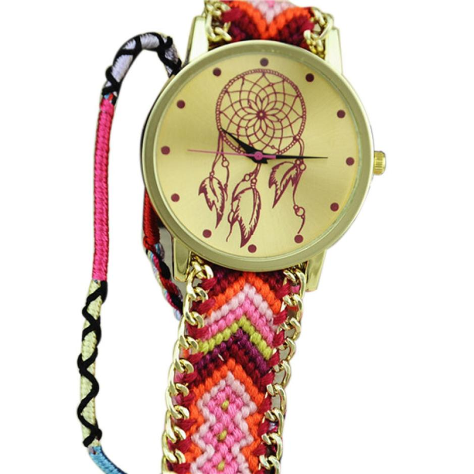 New Dreamcatcher Friendship Bracelet Watch Women Braid Dress Wrsitwatch folk-custom ladies quartz-watch clock relojes mujer