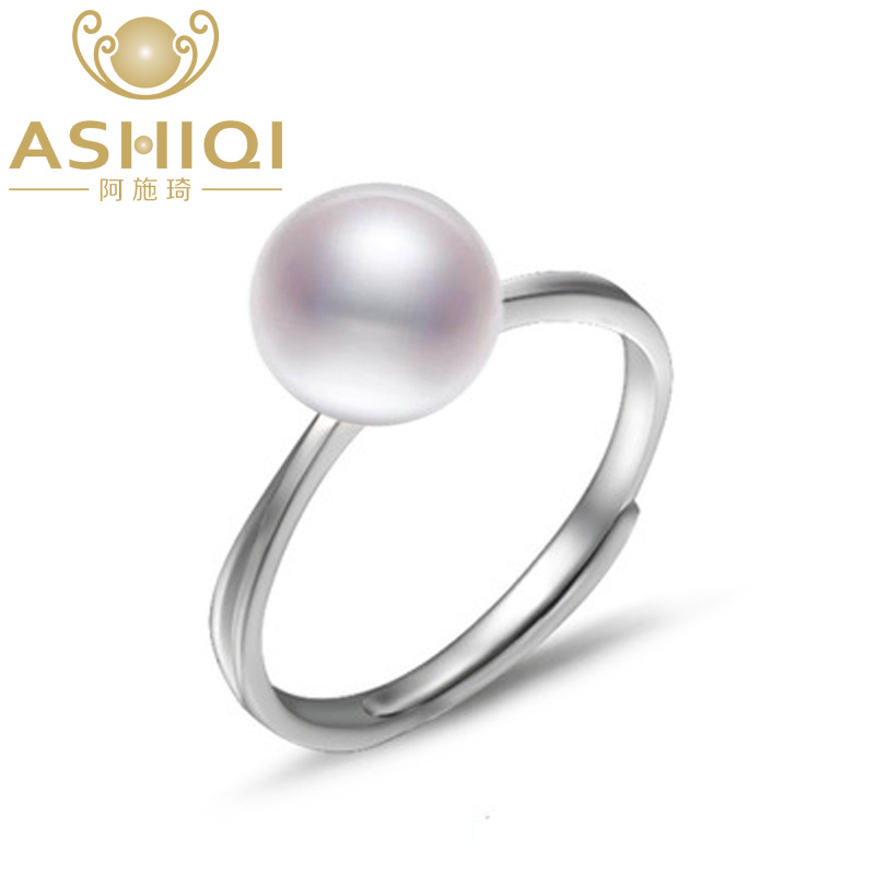 ASHIQI Genuine 925 Sterling Silver 8-9mm Freshwater Pearl Rings Natural Pearls Open Finger Ring For Women Gifts