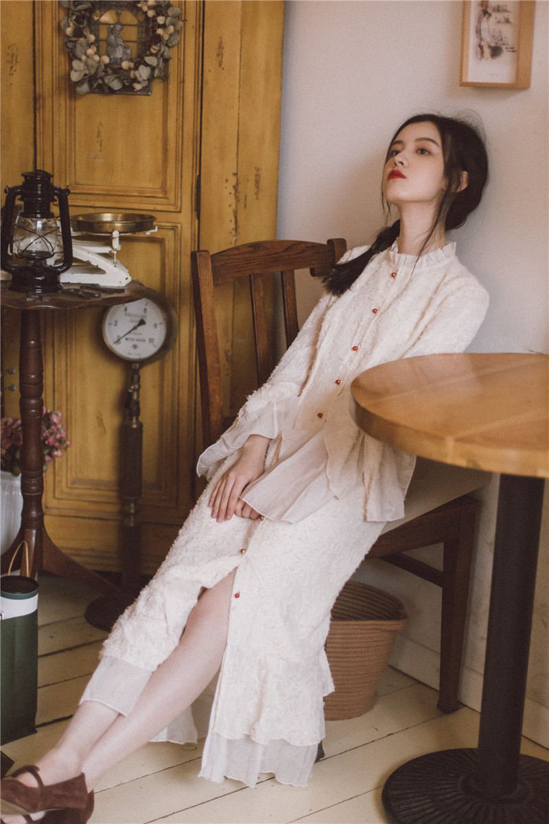 Ubei2019 Spring butterfly long sleeve dress French fashion style oyster white holiday fairy dress grace women button long dress in Dresses from Women 39 s Clothing