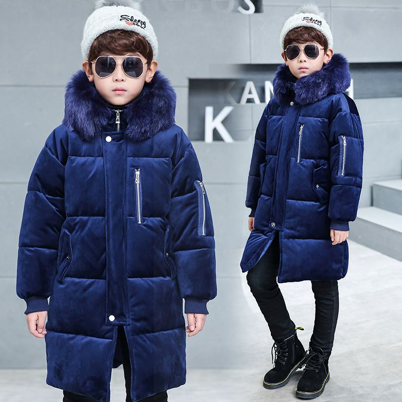 Winter Children Hooded Jackets Girls Thick Long Warm Coats Kids Raccoon Fur Collar Outerwears Clothes Teenage Velvet Parkas P224 недорого