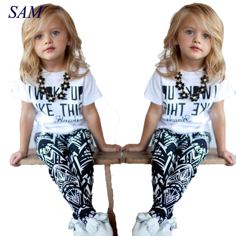 Baby Girls Stripe I Woke Up Like This Toddler shirt and Pants Outfits Set 2 to 7Y Girls Clothing Sets Kids Good Quality Suits girls boys clothes sets 2pcs i woke up like this flawless striped t shirt legging pants black 2pcs clothing outfits summer 2016