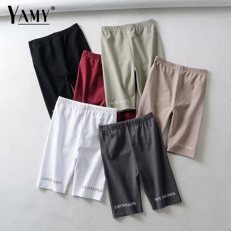 Vintage Cotton High Waist Shorts Women Letter Print White Black Biker Shorts Ladies Sexy Shorts Pink Short Mujer Feminino Summer