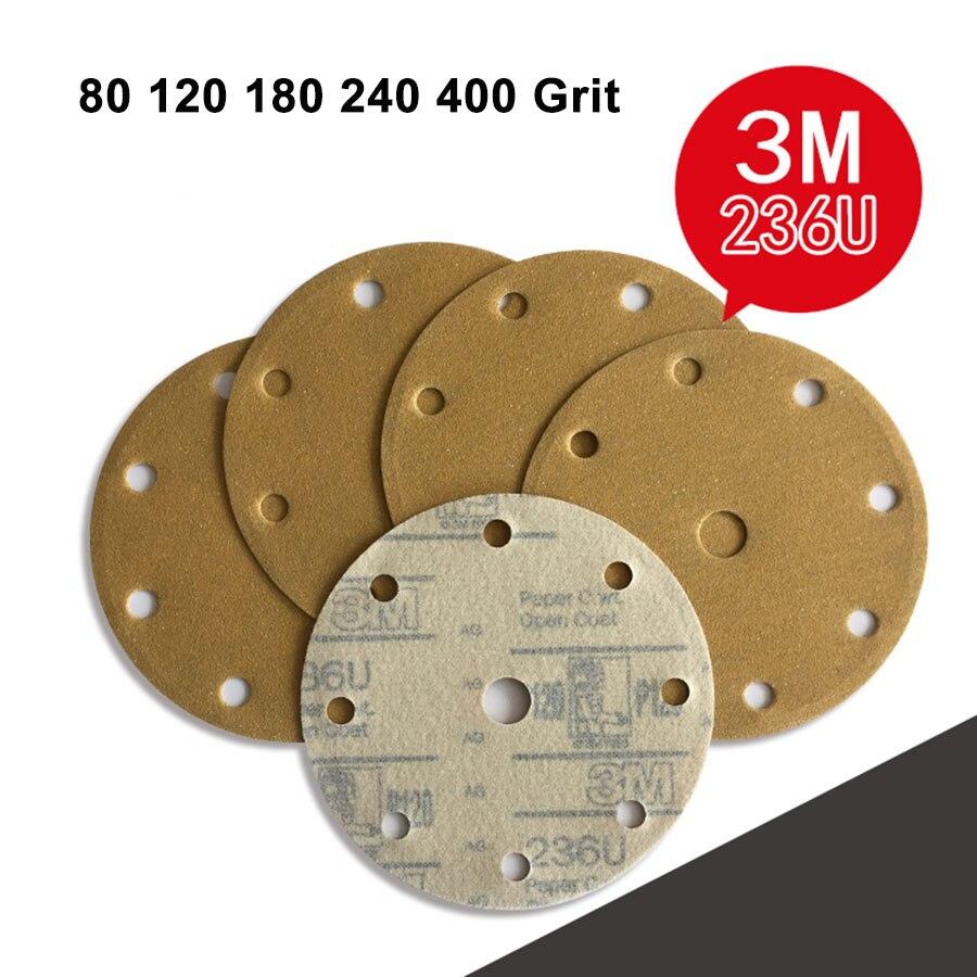 6 Inch 150mm 9 Hole Round Dry Sanding Paper Flocking Polished Sandpaper 80 120 180 Grit Abrasive Tools For Grinding 3M236U