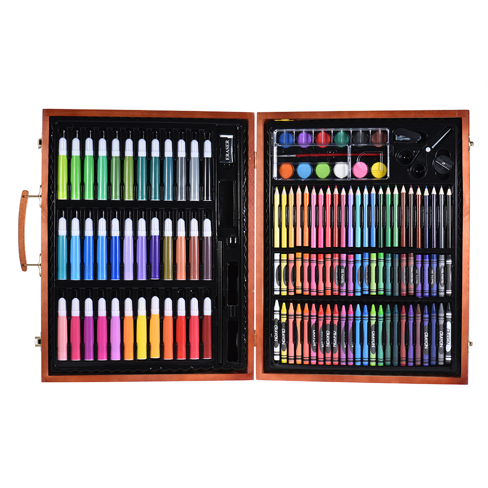 Office & School Supplies 148pcs Deluxe Art Set For Kids With Wooden Case Color Markers Pencils Crayons Oil Pastels Watercolor Painting Supplies Finely Processed Art Sets
