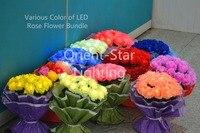 Valentine Gift 3V DC Adaptor Type LED Rose Flower Bundle In Nice Gift Package Wedding Decoration