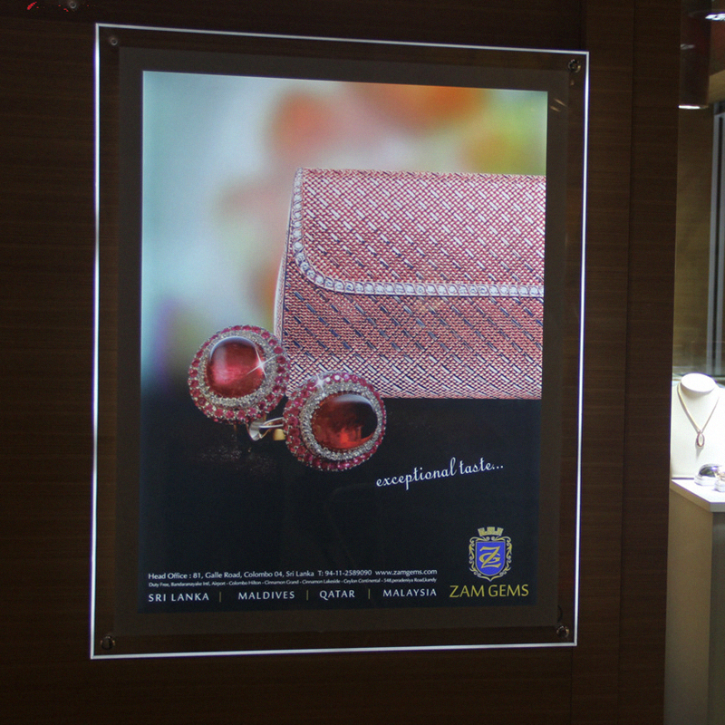 A2 Acrylic Frame Wall Mounted Led Display Advertising