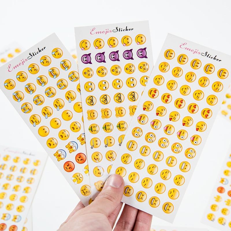 12 Sheets 660 Die Smile Face Expression Emoji Stickers for Diary Photo Album Reward Notebook School Teacher Merit Praise Decor 5 sheets cut sticker 48 emoji smile face stickers for notebook laptop message twitter large viny instagram