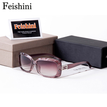 FEISHINI High Quality PC Lens Small Face Rectangle Sunglasses Women Vintage UV400 Protect Eyesight Glasses Brand Designer