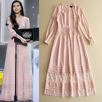 New Celebrity Inspired Fashion Dress Pink Women O Neck Hollow Out Lace Patchwork Long Sleeve Elegant Party Maxi Carpet Dress