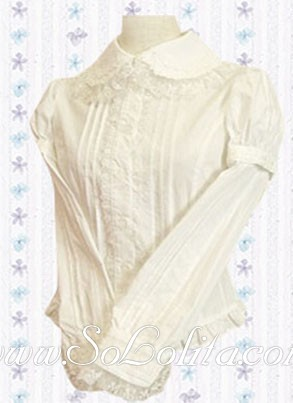 Lolita Lace trim Long sleeves White Cotton Blouse