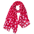 2016 New Fashion Red Print Peach Heart Voile Chiffon Blanket Scarf Hot Sale Trendy  Warm Winter Scarf Women Bandana