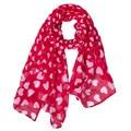 2016 Nueva Moda Rojo Corazón del Melocotón de Impresión de Gasa Gasa Manta Bufanda Venta Caliente de Moda de Invierno Cálido Bufanda Mujeres Pañuelo