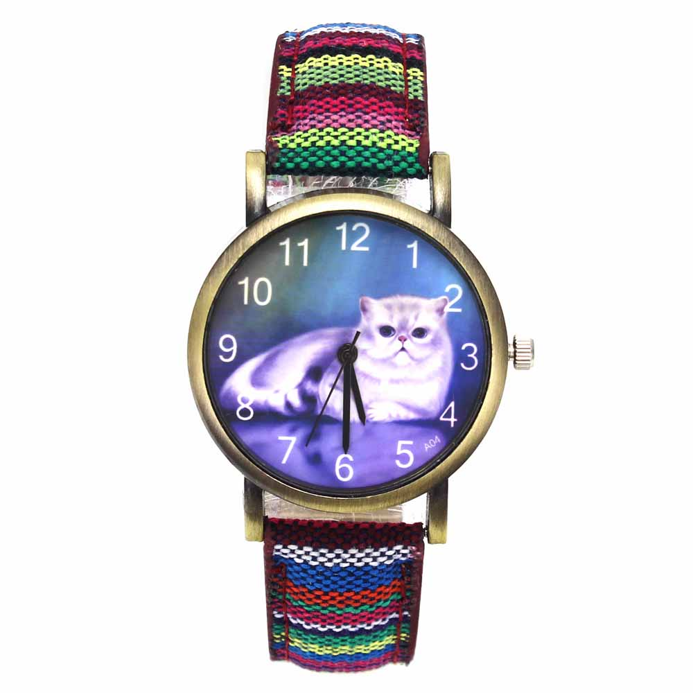 Cute Lucky Cat Pet Kitty Cheshire Cats Animal Quartz Watches Casual Women Ladies Girl Fashion Denim Stripes Wristwatch Watch maoxin cute cat head finger grip metal ring kickstand for smartphones blue cats
