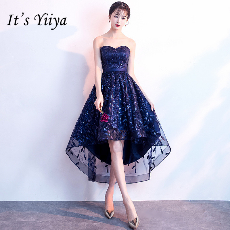 It's YiiYa New Strapless Sleeveless Cocktail Dress Fashion Navy Blue Tea-Length Formal Dress Party Gown H058